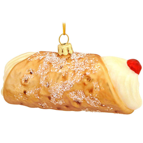 Cannoli Glass Ornament