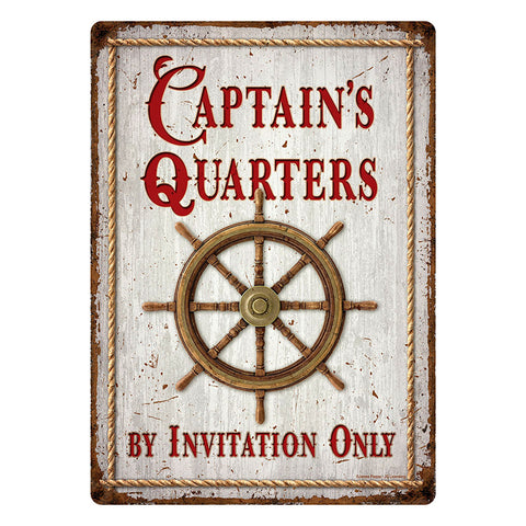 Captain's Quarters By Invitation Only Tin Sign
