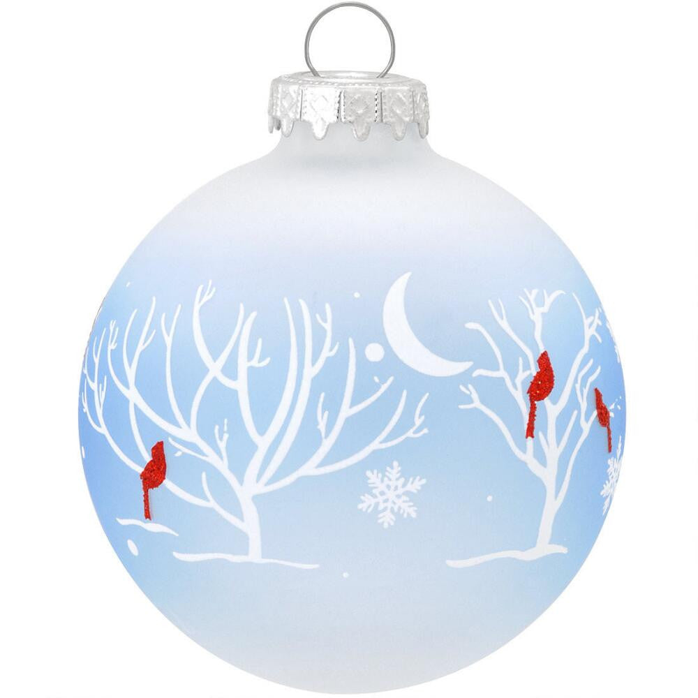Cardinals In Moonlight Glass Ornament 1158798