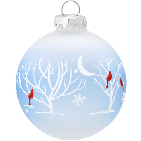 Cardinals In Moonlight Glass Ornament