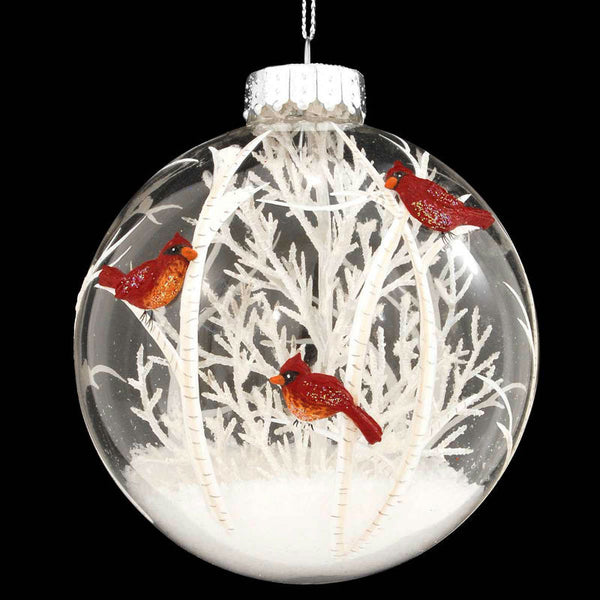 Cardinals Scene With White Tree Glass Ornament 1189572