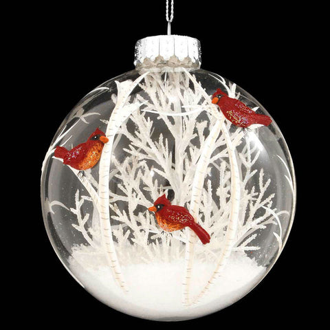 Cardinals Scene With White Tree Glass Ornament