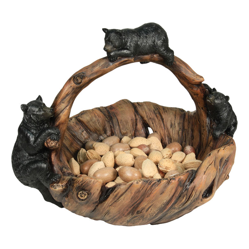 Carved Bear Basket 956
