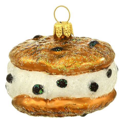 Chocolate Chip Cookie Ice Cream Sandwich Glass Ornament
