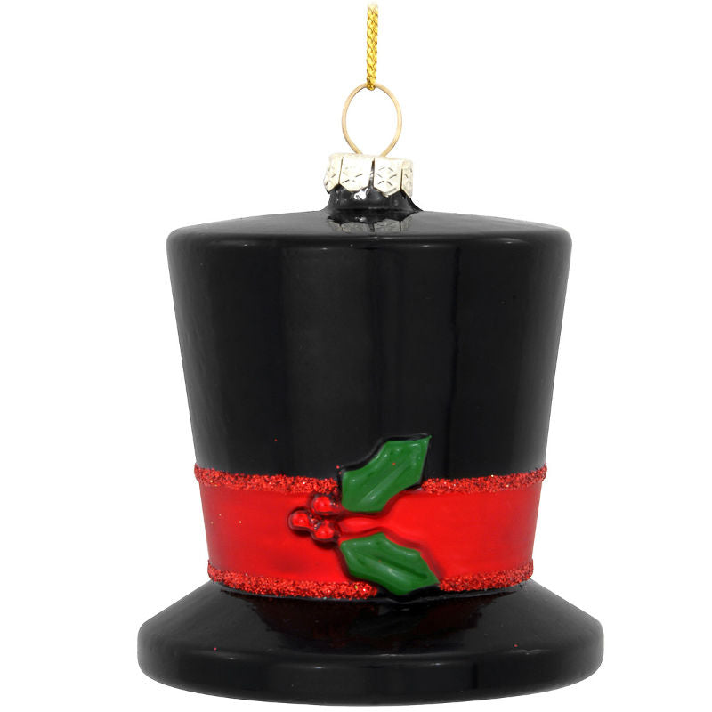 Christmas Holly Top Hat Glass Ornament 1188840