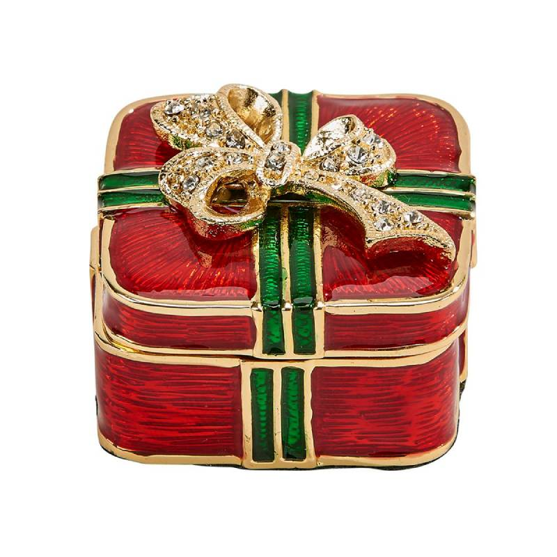 Cloisonne Christmas Package Trinket Box 005329