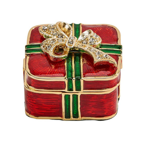 Cloisonne Christmas Package Trinket Box