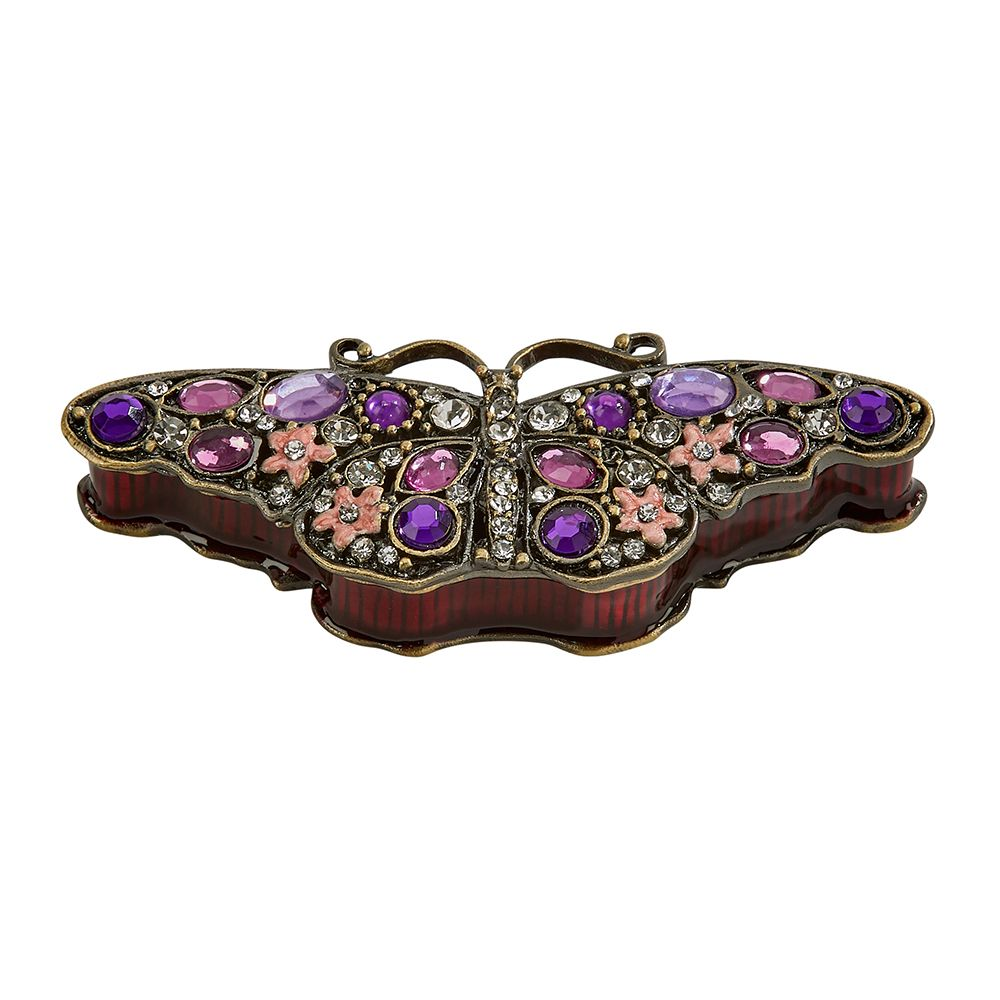 Cloisonne Crystal Butterfly Trinket Box 005320