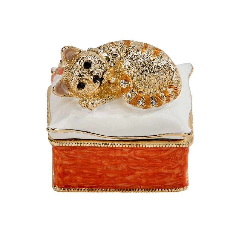 Cloisonne Crystal Kitten Trinket Box 005322