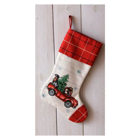 Coming Home Red Truck Christmas Stocking