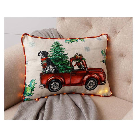 Coming Home Red Truck Christmas Throw Pillow