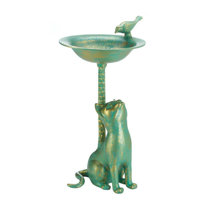Copper Curious Cat Bird Bath 10017613