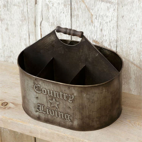 Country Living Divided Tin Caddy