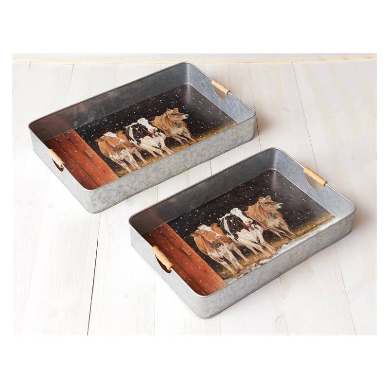 Cows In The Snow Serving Trays 7T1559