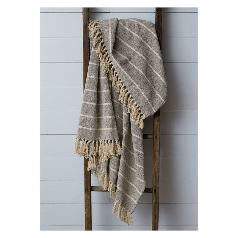 Cream and Gray Striped Throw Blanket 8FA1144