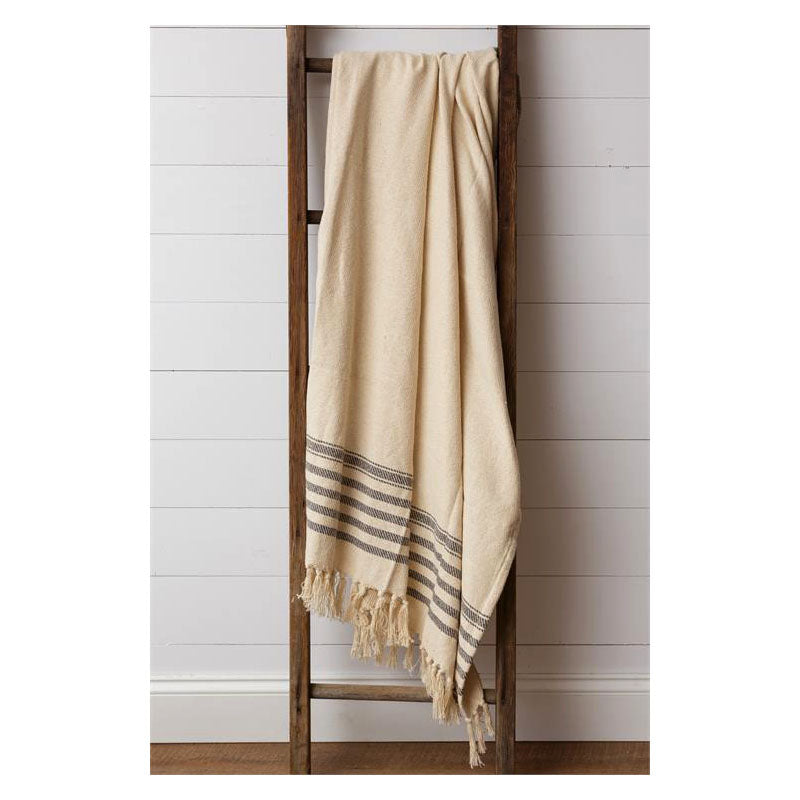 Cream and Gray Throw Blanket 8FA1145