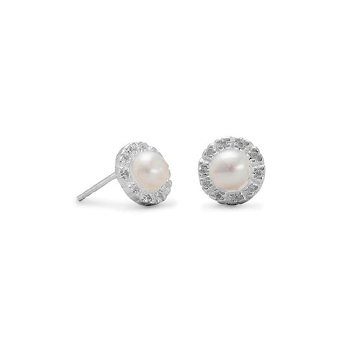 Cultured Freshwater Pearls and CZ Stud Earrings
