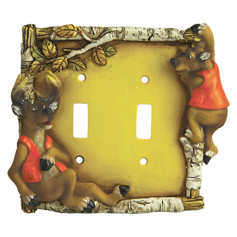 Cute Deer Double Light Switch Cover