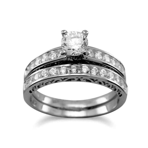 CZ Eternity Wedding Set Rings