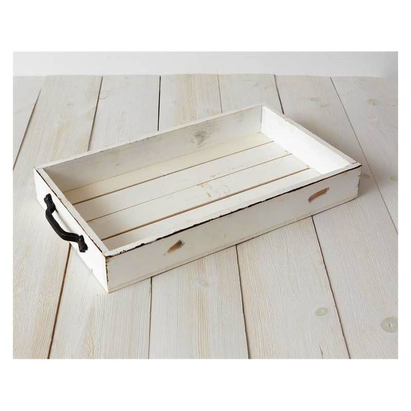 Distressed White Wooden Serving Tray 8W2843