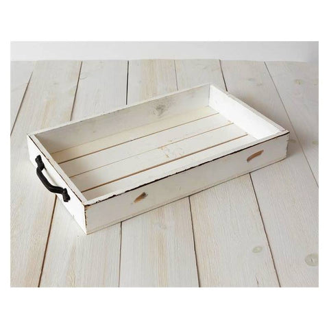 Distressed White Wooden Serving Tray