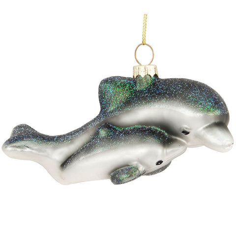Dolphin Mom and Baby Glass Ornament