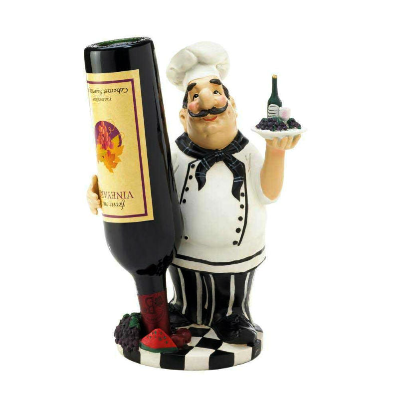 Double Duty Italian Chef Wine Bottle Holder 10017733