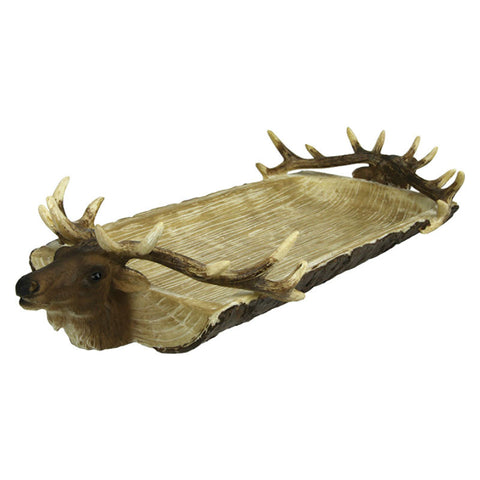 Double Elk Head Serving Tray