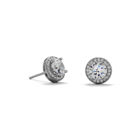 Elegant Halo Cubic Zirconia Stud Earrings