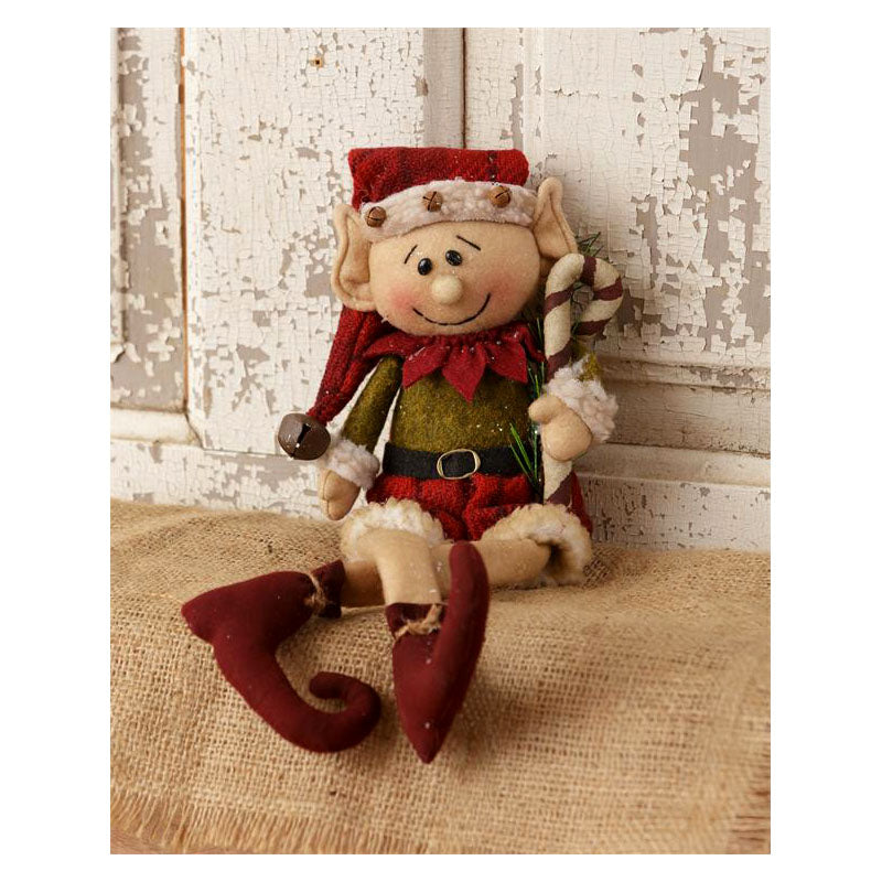Elf Holding Candy Cane Plush Figurine 7D4669