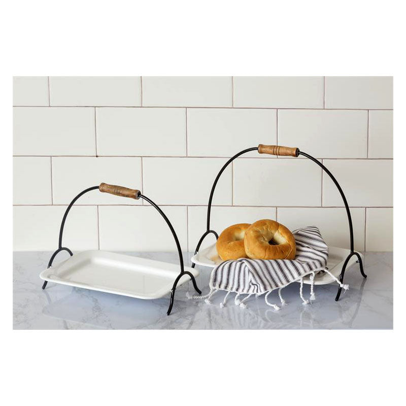 Enamelware Serving Trays with Handles 8T1800