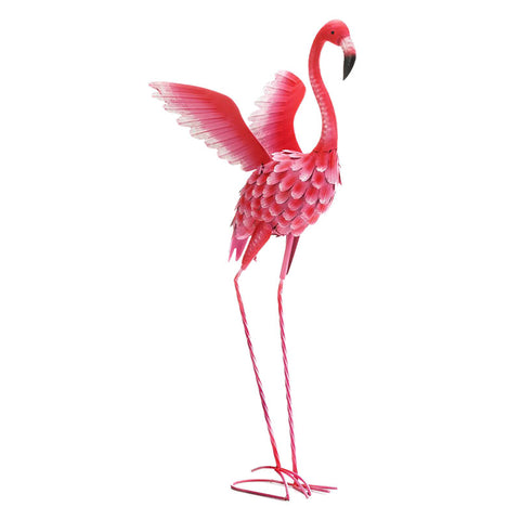 Extra Tall Flying Flamingo Metal Garden Sculpture