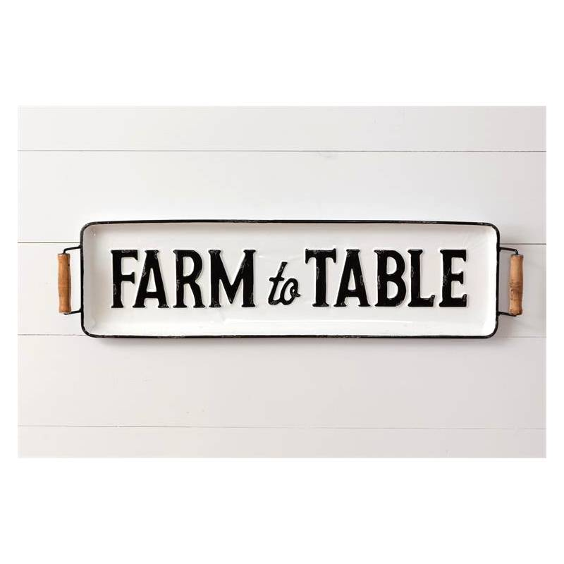 Farm To Table White Enamel Tray 8T1696