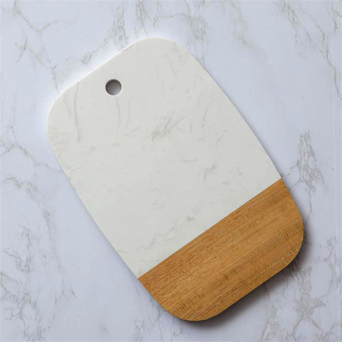 Faux Marble and Acacia Wood Serving Board