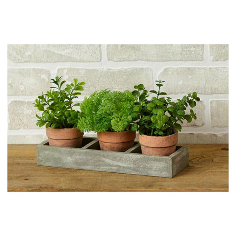 Faux Potted Herbs and Wooden Tray