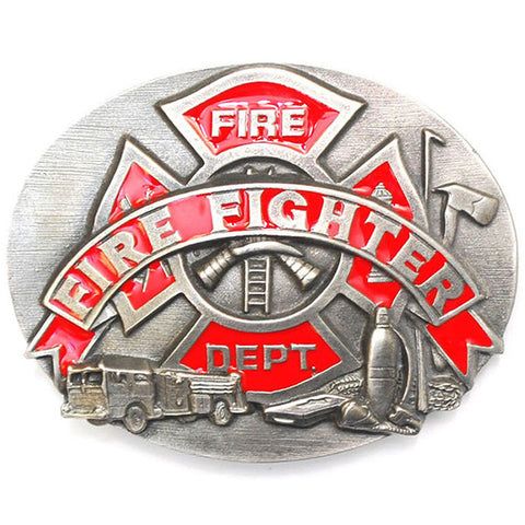 Firefighter Enameled Belt Buckle