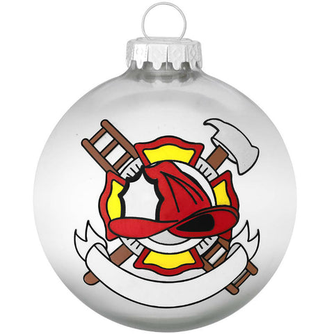 Firefighters Shield With Banner Glass Ornament