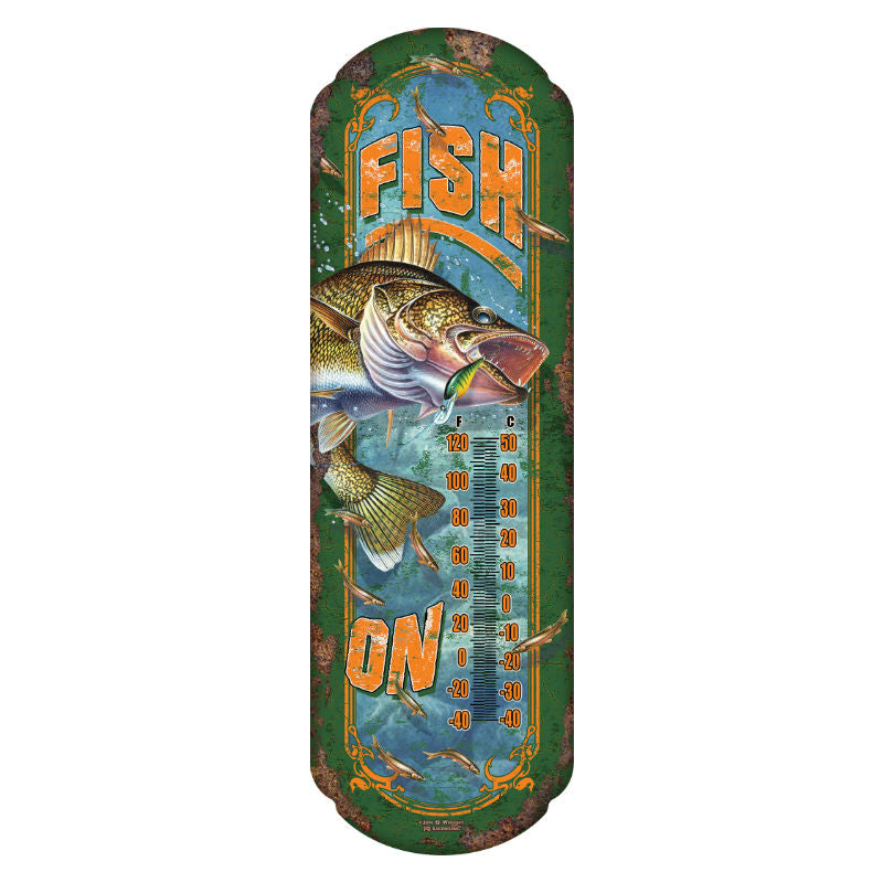 Fish On Tin Thermometer 1244