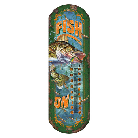 Fish On Tin Thermometer