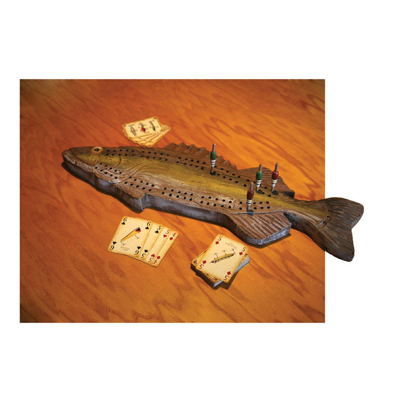 Fish Shaped Carved Wooden Cribbage Board 712