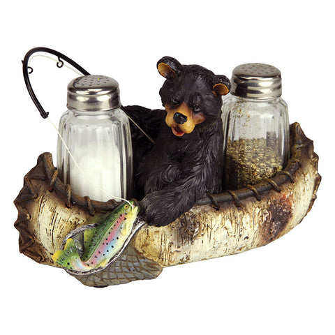Fishing Bear Salt and Pepper Shakers