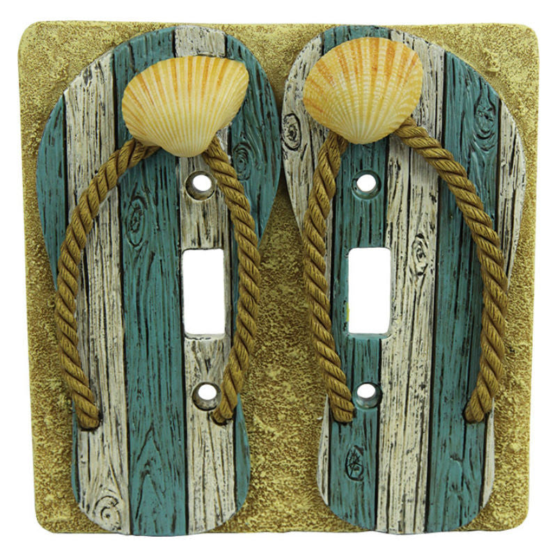 Flip Flops Double Light Switch Cover Baubles N Bling