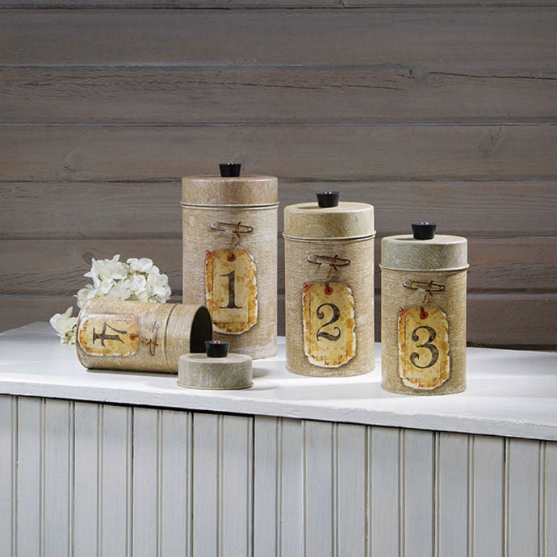 Food Safe Burlap Kitchen Canisters - Scratch and Dent 12317X2