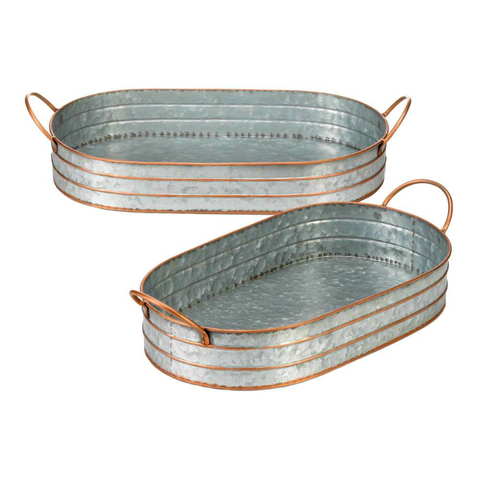 Galvanized Oblong Farm House Metal Trays
