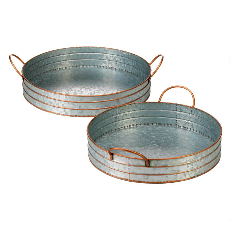 Galvanized Round Farm House Metal Trays 10018835
