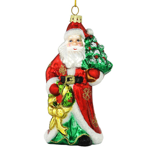 Getting Ready For Christmas Santa Claus Glass Ornament