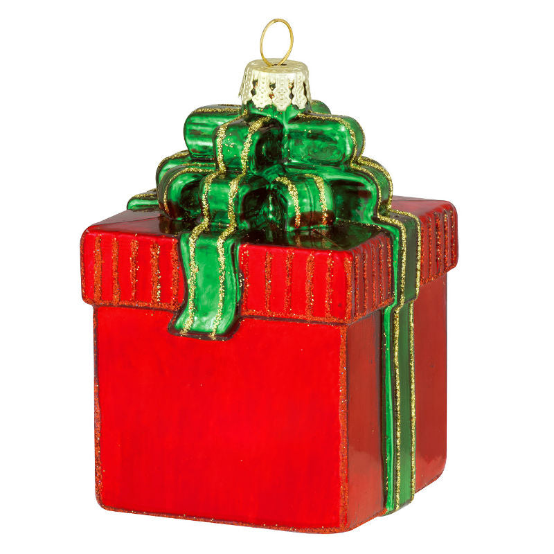 Gift Package With Bow Glass Ornament 1180689