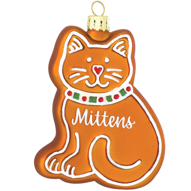 Gingerbread Cat Glass Ornament 1180379
