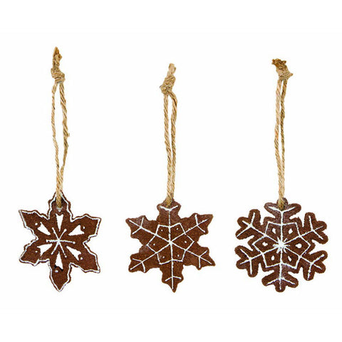 Gingerbread Frosted Snowflake Ornaments