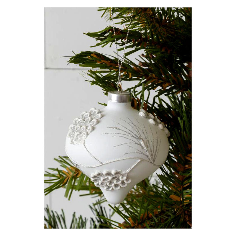 Glittering Teardrop White Pinecone Christmas Ornament 7G0305